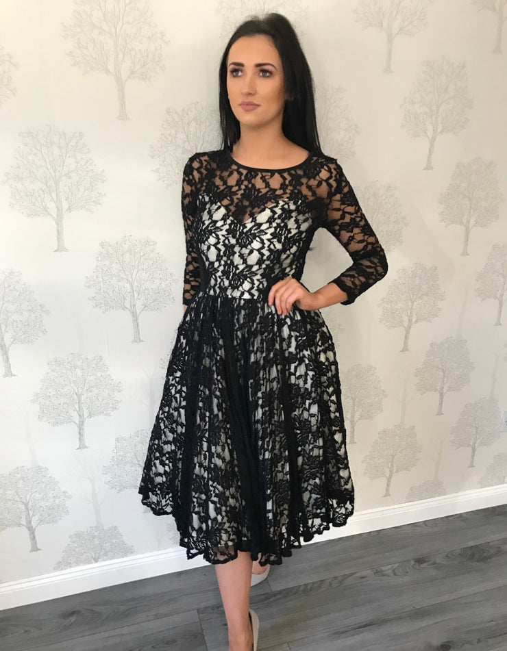 Kylie Black Full Lace Netted Under Layer Dress
