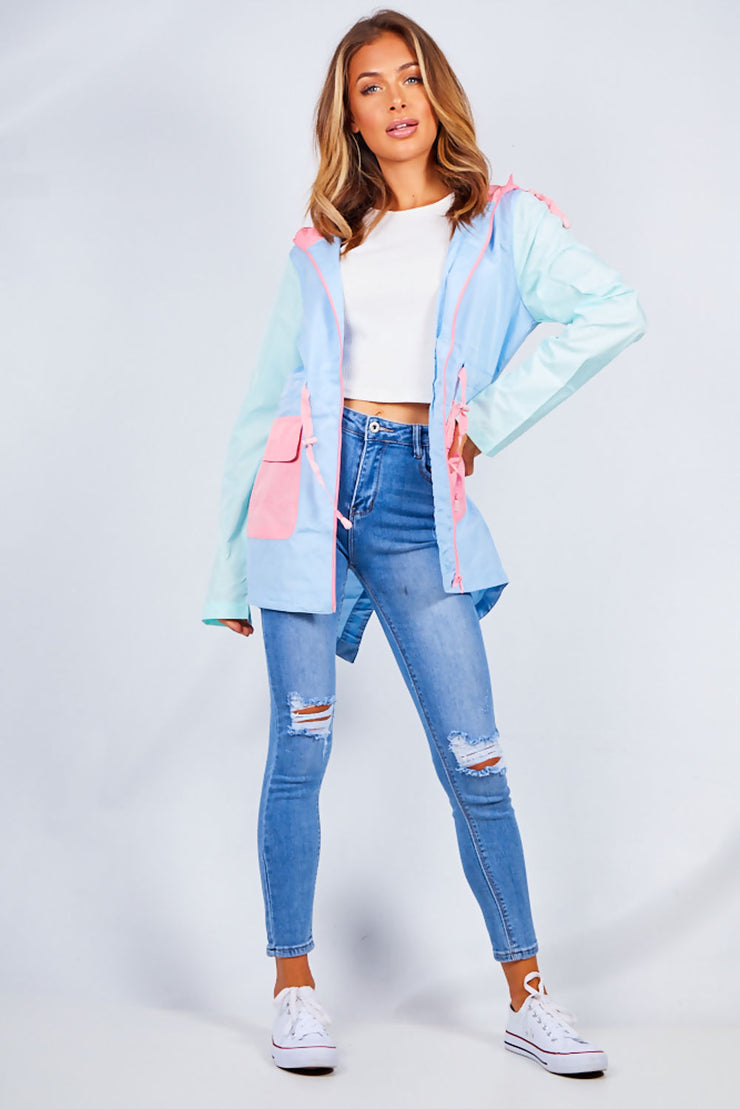 Liv Light Blue Multi Pastel Hooded Raincoat