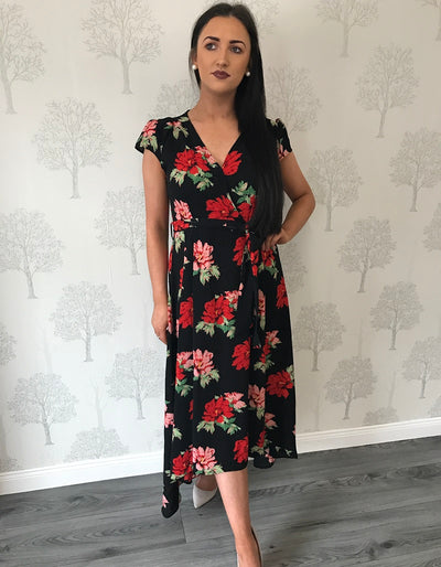 Maisy Black Floral Capped Sleeve Waterfall Dress
