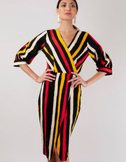 Marie Black Multi Stripe Wrap Style Dress