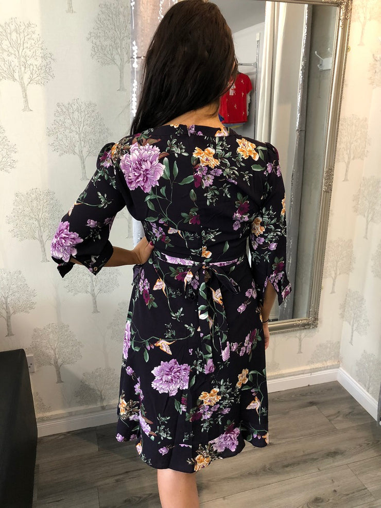 Mia Purple Floral Wrap Style Frill Dress