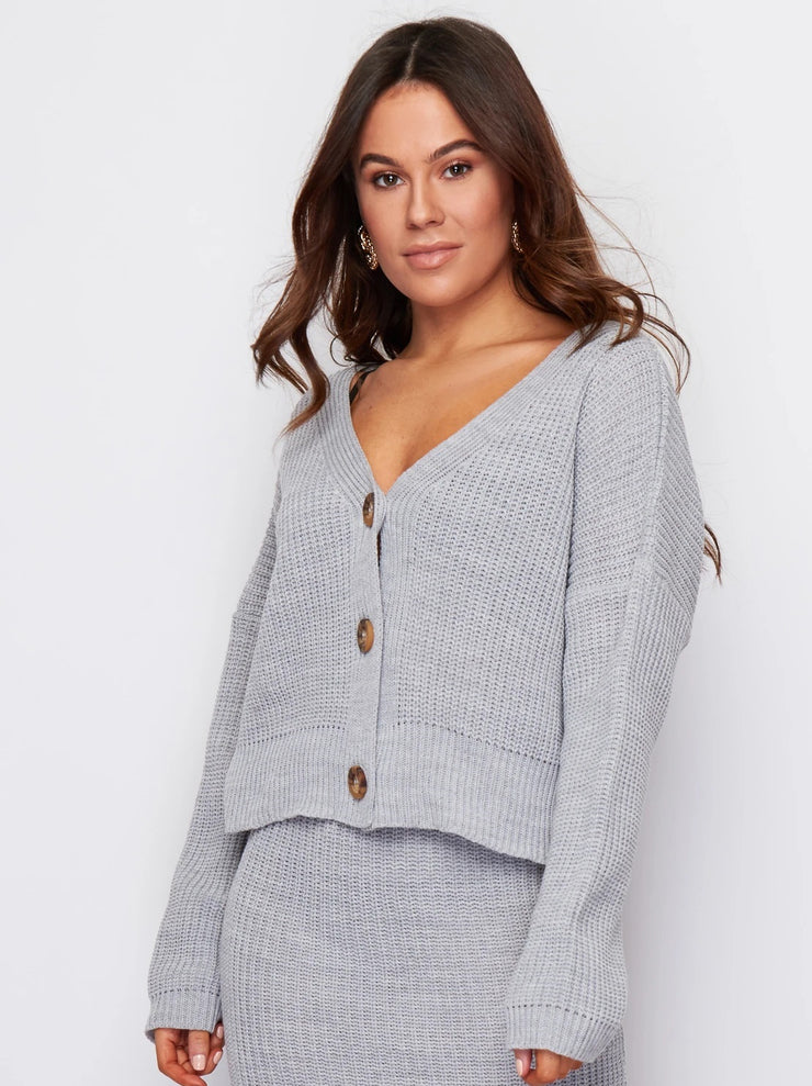 Milan Grey Knitted 3 Button Long Sleeve Cardigan