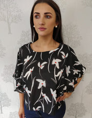 Milan Black Floral Frilled Sleeve Blouse