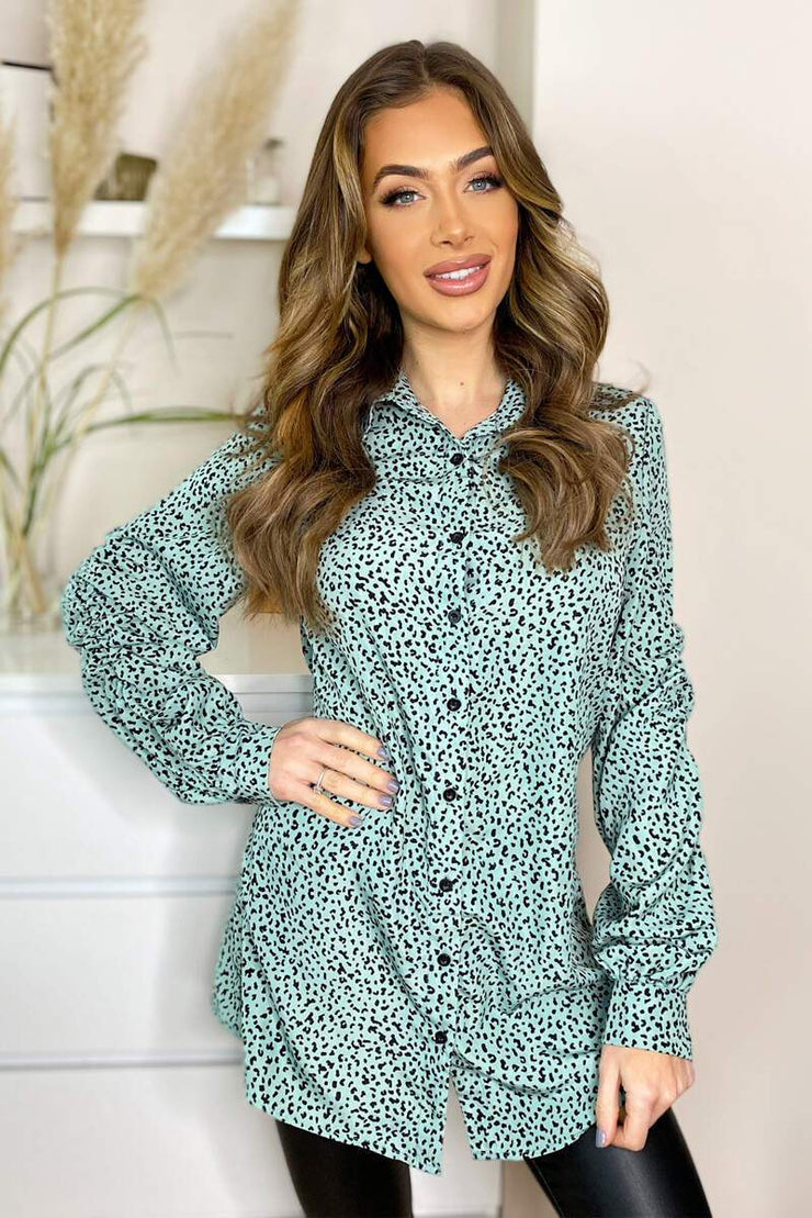 Nicky Mint Button Elasticated Sleeve Shirt