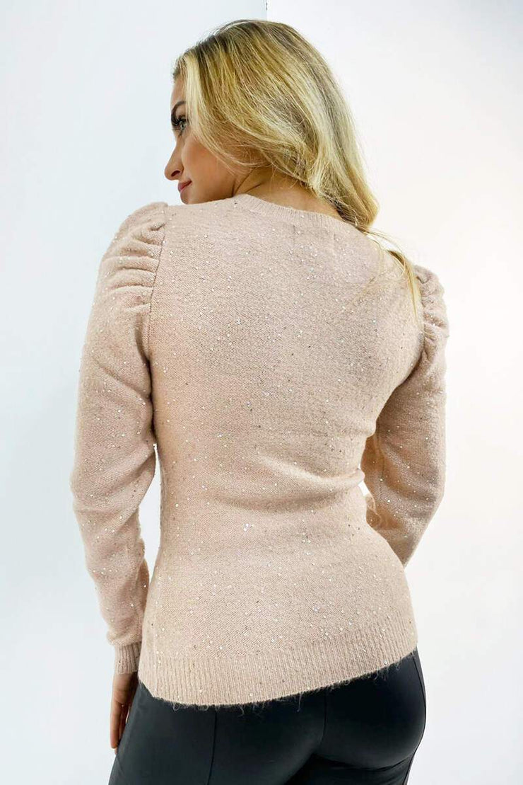 Leesa Misty Rose Sequin Knit Jumper