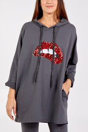 Wendy Grey Sequin Lips Hooded Sweatshirt