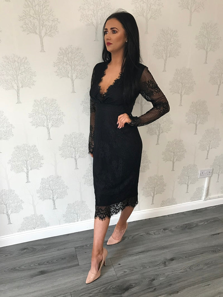 Nadia Black Lace Wrap Detail Midi Dress