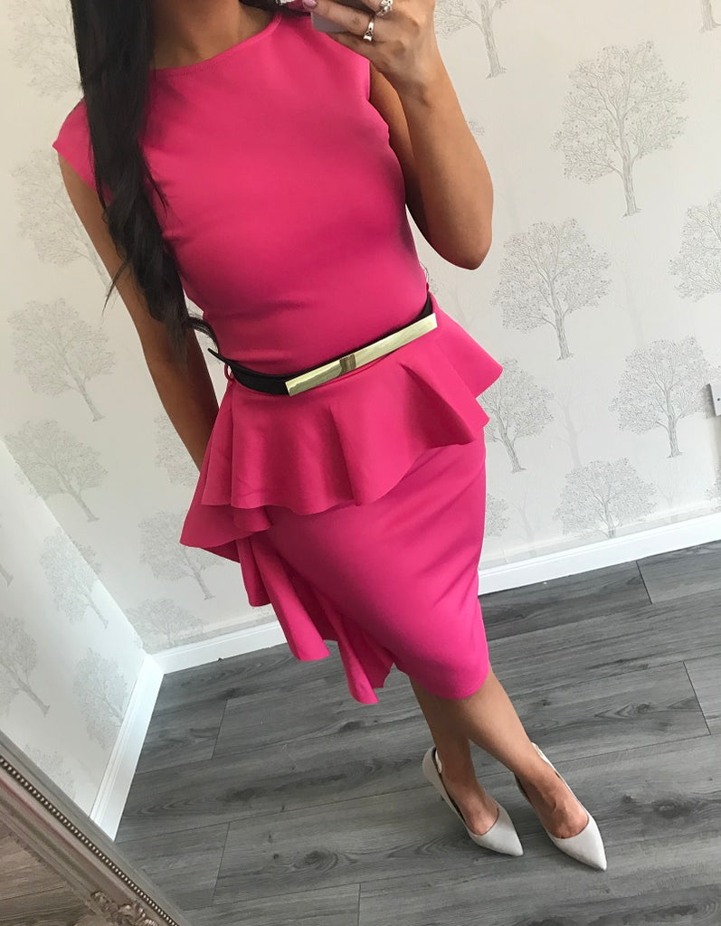 Nancy Pink Midi Frilled Dress With Belt