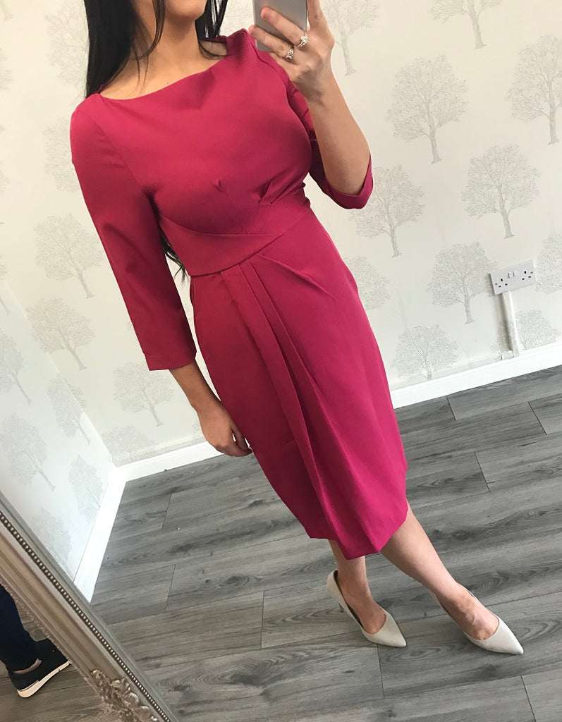Nicky Magenta 3/4 Sleeve Ruched Pencil Dress
