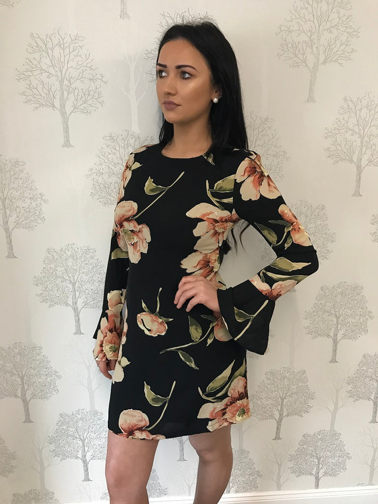 Nicola Black Floral Flare Sleeve Dress