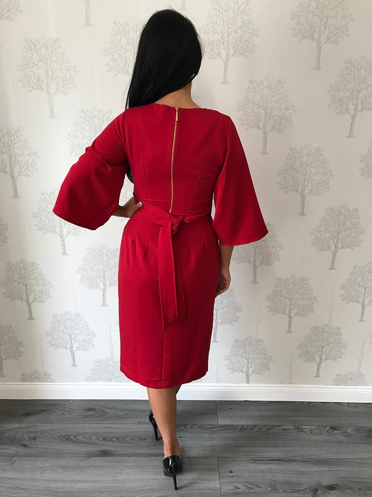 Norah Red V Neck Flared Sleeve Dress