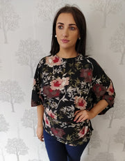 Orla Black Floral Batwing Blouse