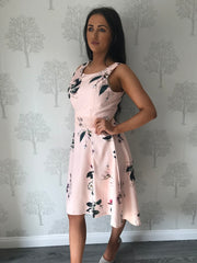 Paige Blush Floral Dip Hem Skater Dress