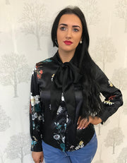 Penelope Black Flower Print Self Tie Bow Satin Blouse