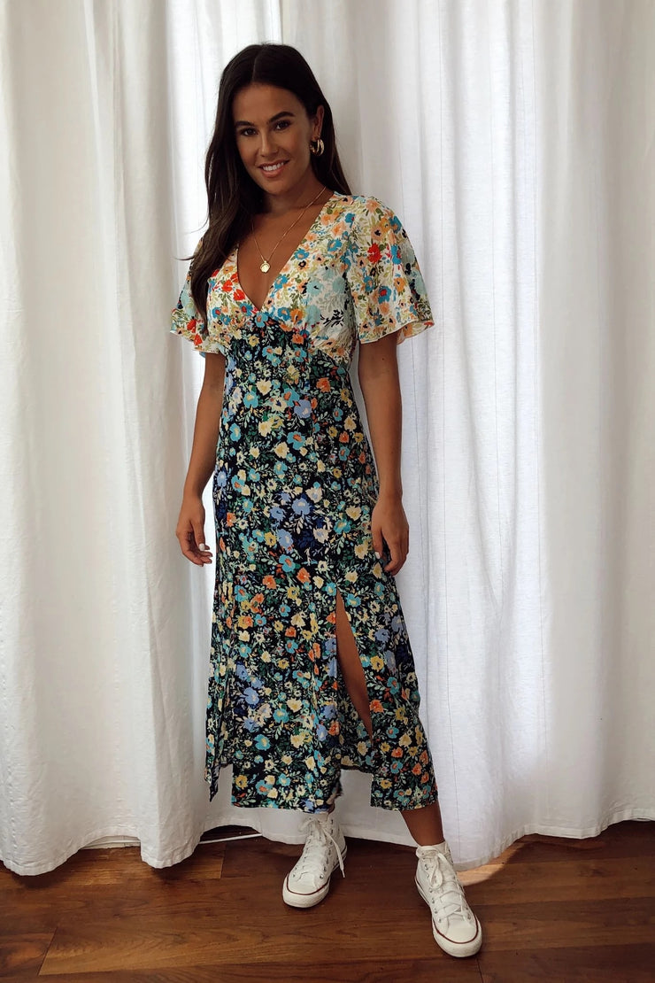 Phoebe Navy and White Floral Angel Sleeve Midi Dress