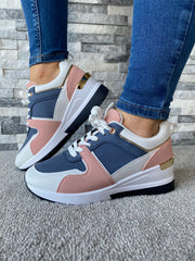 Maggie Blush Pink & Navy Wedge Trainer