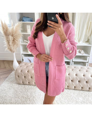 Nia Pink Pocket Cardigan with Button Detail