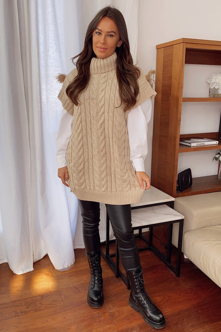Tessa Stone Cable Knit Cowl Neck Sweater Vest