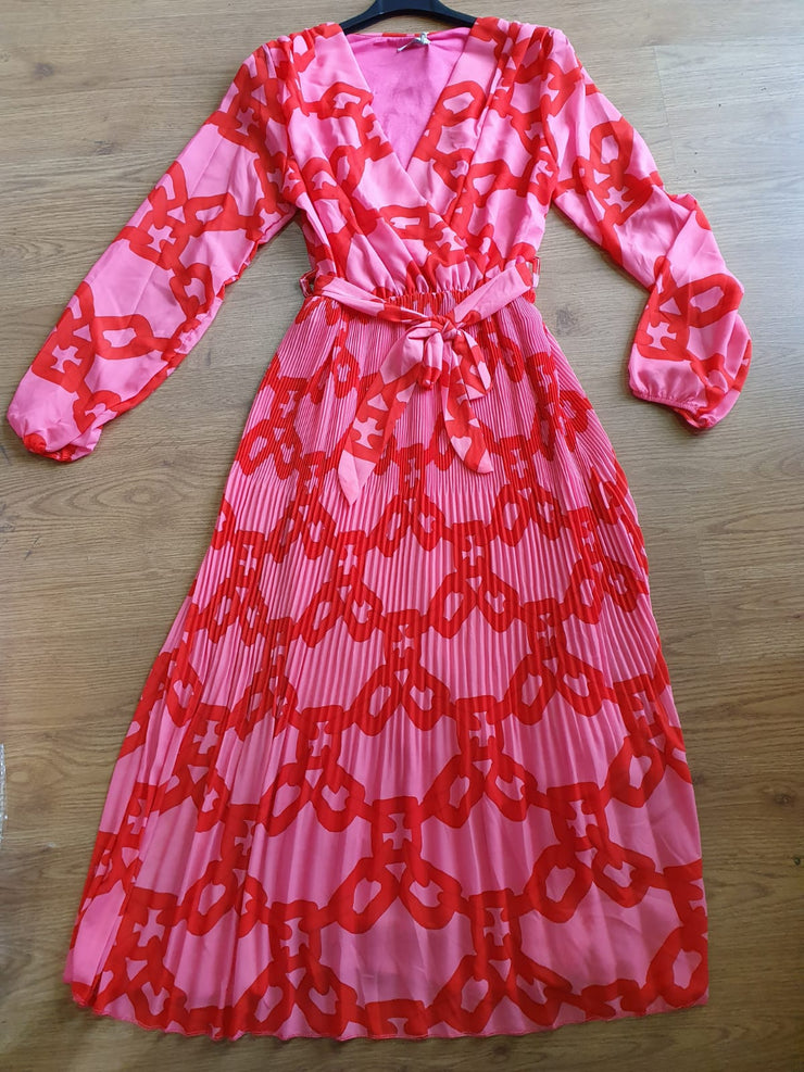 Paris Pink and Red Chain Print Designer Inspired Midi Dress