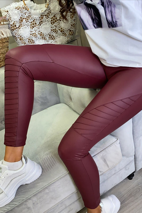 Pattie Wine High Waist PU Biker Leggings