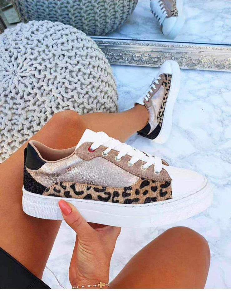 Sarah Rose Gold & Leopard Print Trainers