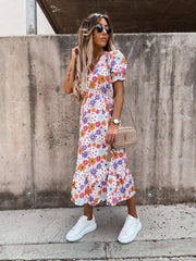 Jordan Multi Floral Print Button Midi Dress