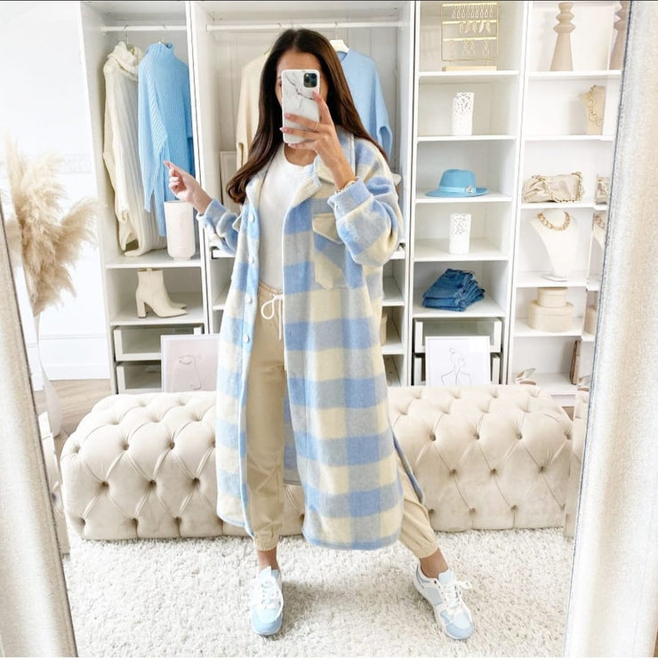 Vonnie Baby Blue Checked Longline Shacket