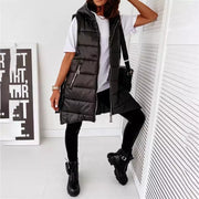 Joanie Black Hooded Zip Detailed Gilet