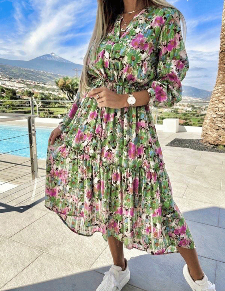 Zoe Green Multi Floral Midi Dress