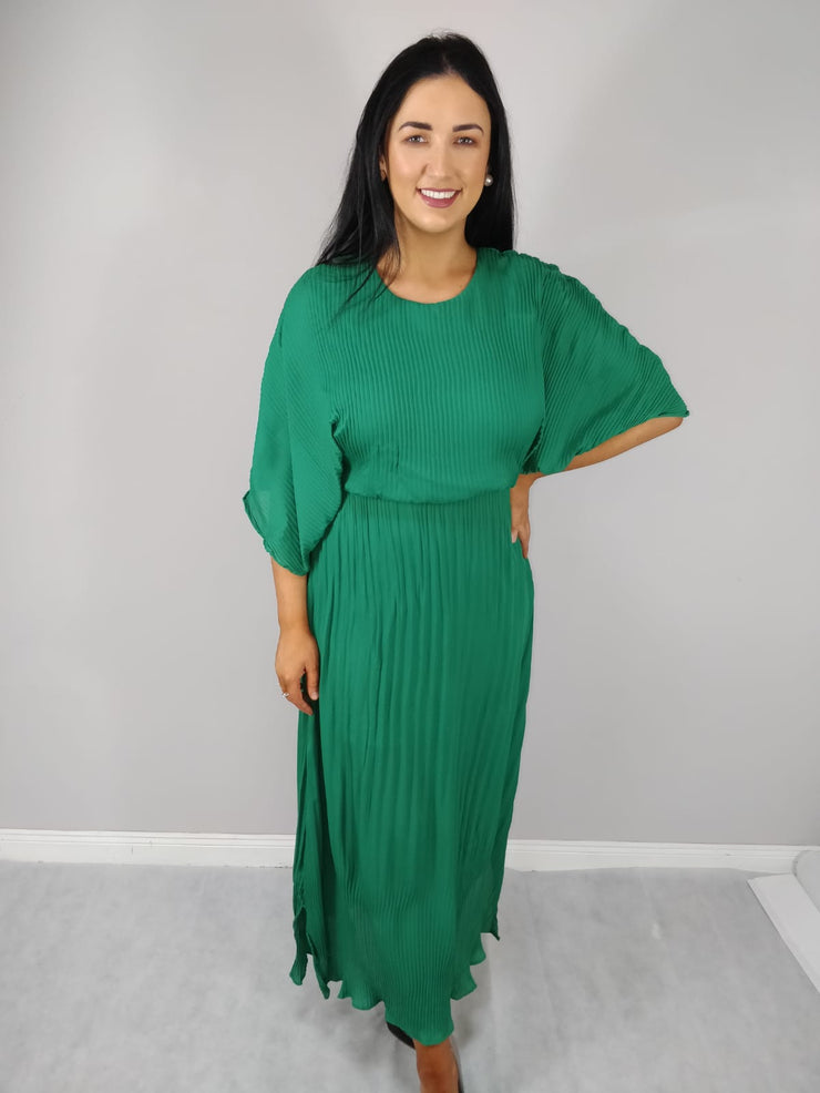 Denise Green Batwing Pleated Midaxi Dress