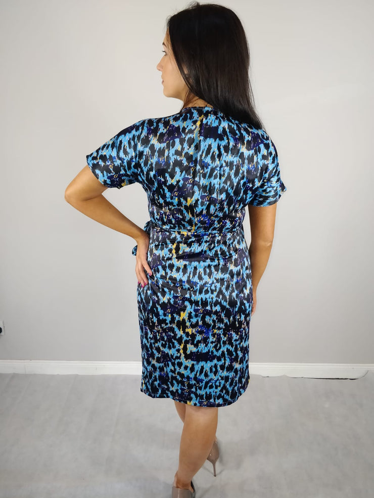 Aoife Blue Animal Print Wrap Dress