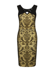 KELLIE LEMON AND BLACK EMBELLISHED NECK LACE DRESS