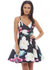 CASEY STRAPPY MULTI PRINT FLORAL SKATER DRESS