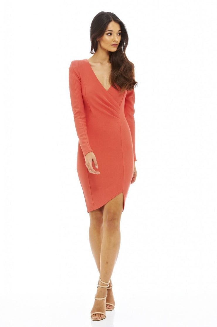 RILEY CORAL WRAP FRONT LONG SLEEVED DRESS
