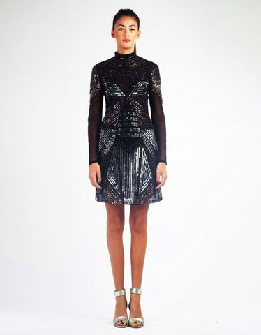 Julia Gold and Metallic Peacock Design Dress