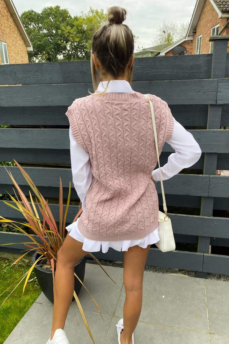 Sarah Pink Cable Knit Sleeveless Tank Top