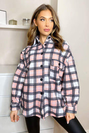 Mae Pink and Black Checked Shirt Jacket