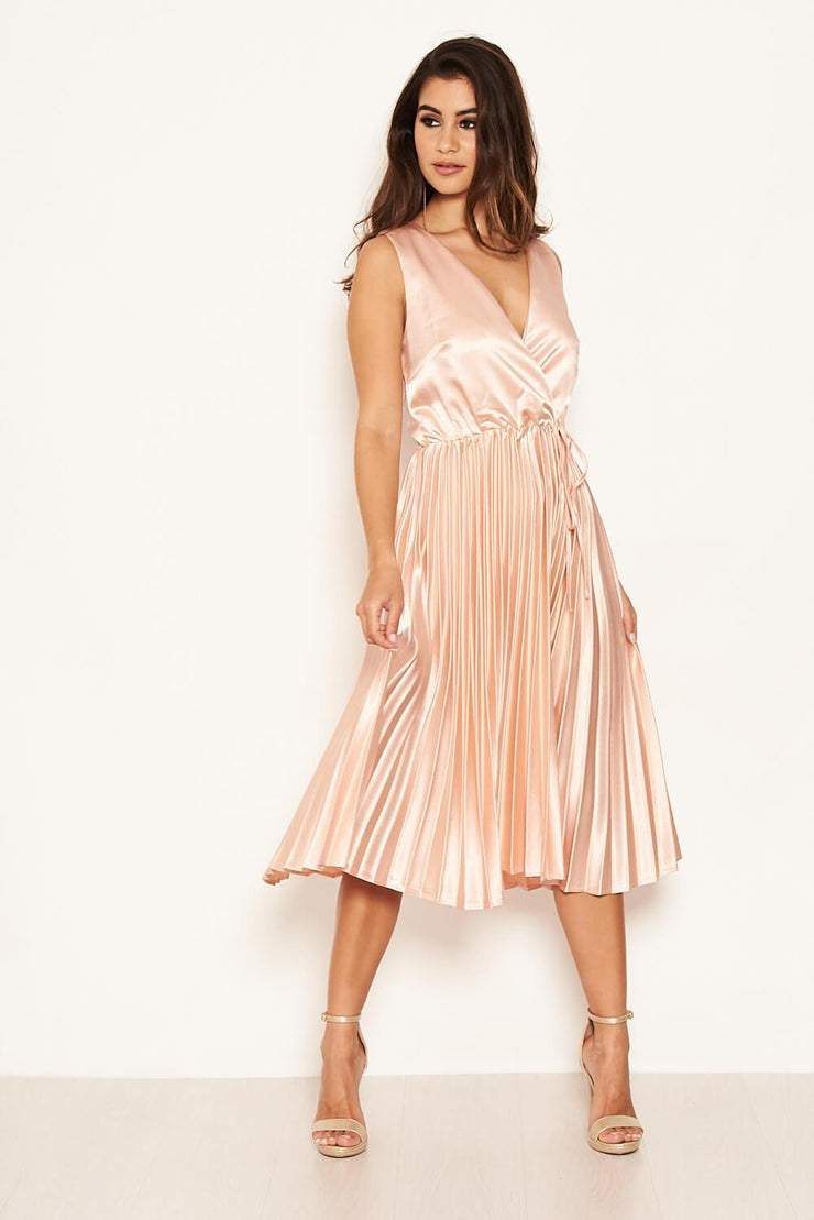 Leanne Pink Satin Pleated Wrap Style Dress