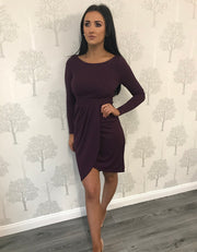 Purple Long Sleeve Wrap Midi Dress