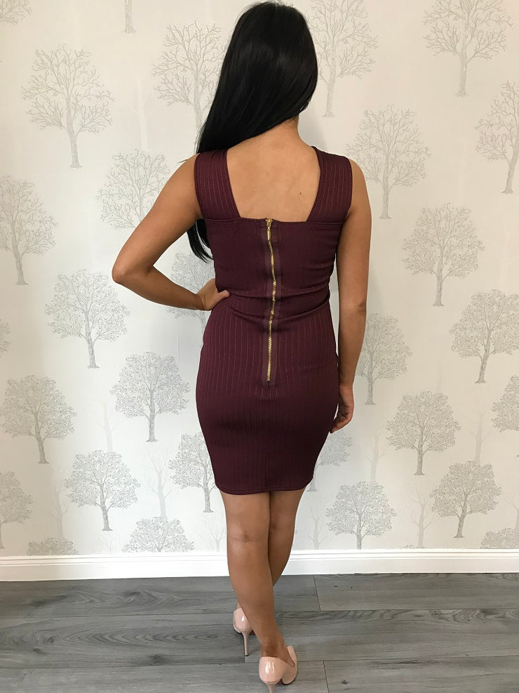 Purple Rib Criss Cross Midi Dress