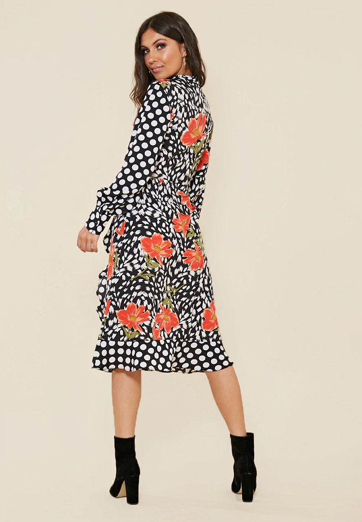 Natalie Floral Multi Print Frill Hem Wrap Midi Dress