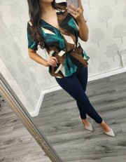 Raina Teal Peplum Short Sleeve Blouse