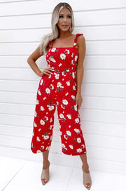 Mia Red Floral Printed Jumpsuit