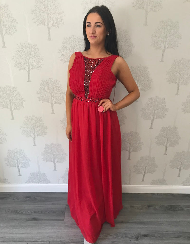 Red Lace Maxi Dress with Embellished Plunge Neck