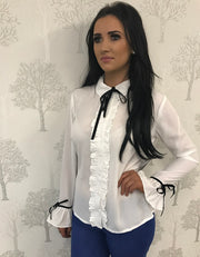 Rhonda Tie Neck Ruffle White Blouse with Trim Detail