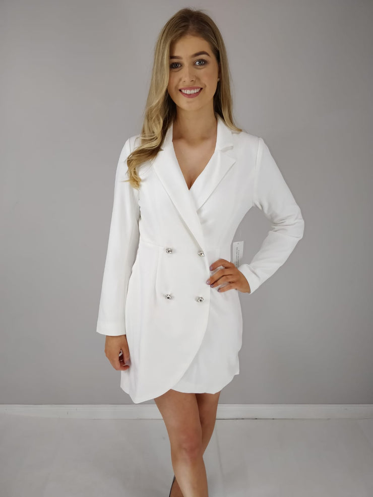 Reign Crystal Button Front Wrap Blazer Dress