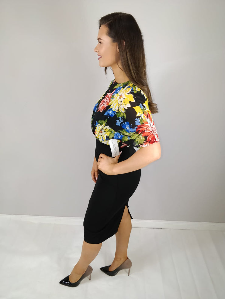 Riya Black Floral Print Batwing Midi Dress