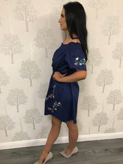 Robyn Denim Blue Embroidered Off Shoulder Style Dress