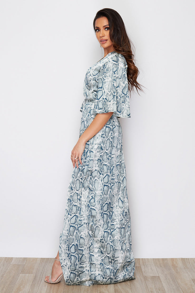 Mona Mint Snake Print Wrap Top Maxi Dress