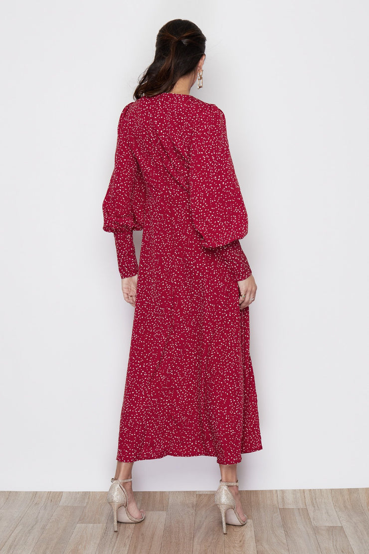 Ola Red Print Cuffed Sleeve Midi Dress